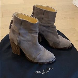 Rag and Bone Ashby Grey Suede Bootie